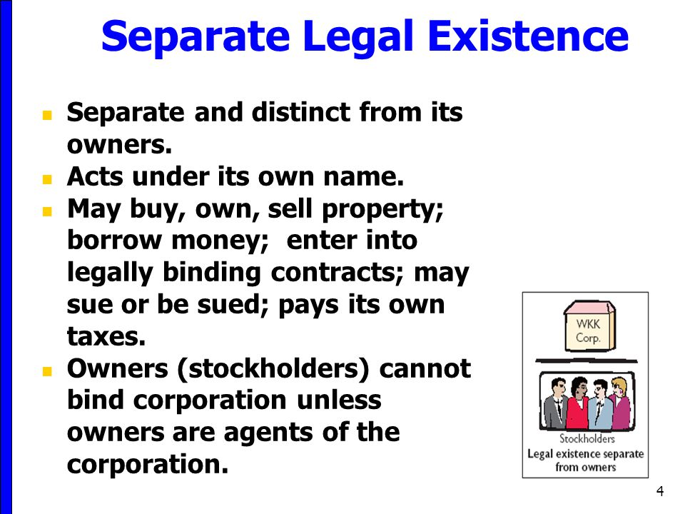4 Separate Legal Existence Separate and distinct from its owners. Acts under its own name. May buy, own, sell property; borrow money; enter into legal