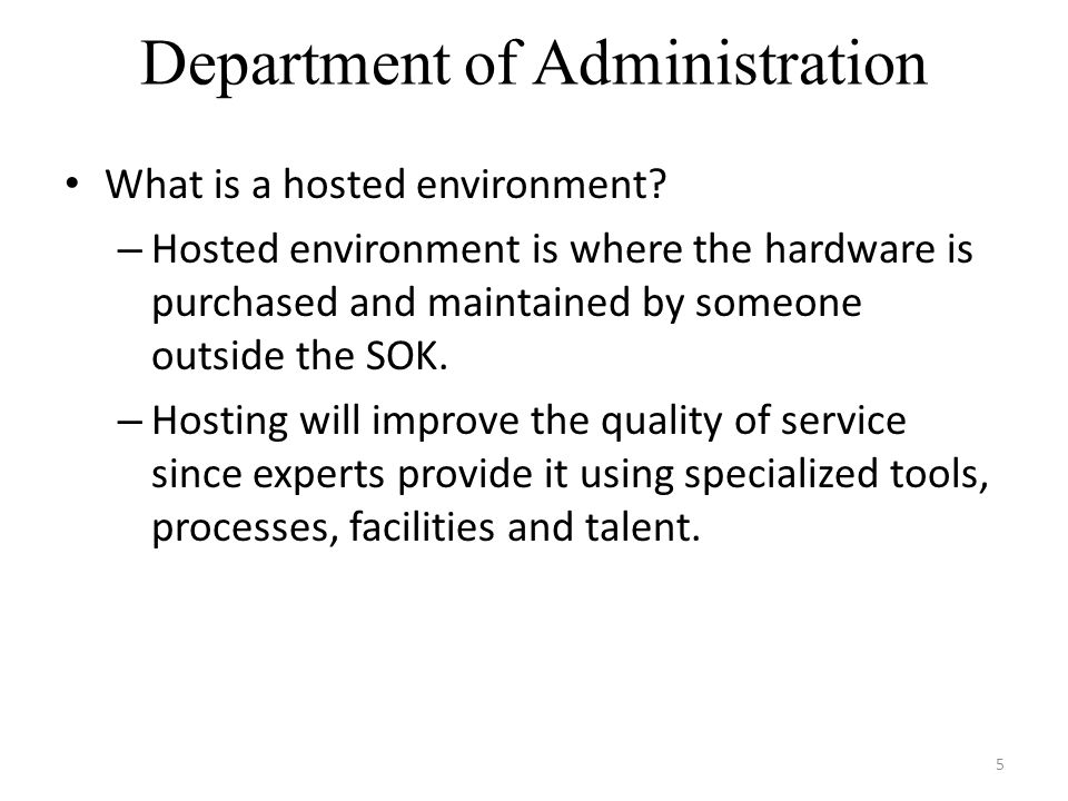 Department of Administration 6 Benefits: Tier 3 Data Center Round the clock general support in the area of break fix & system verification & validation Team of skilled technical developers Lab Services for upgrades Manages all hardware Assist with keeping data protected according to state, federal & international requirements Provides support by applying maintenance updates such as tax updates or maintenance packs from Oracle We get to focus on the needs of Kansas.