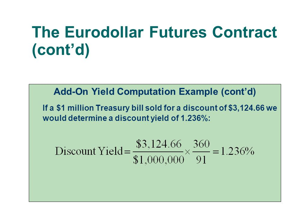 The Eurodollar Futures Contract (cont'd) Add-On Yield Computation Example (cont'd) If a $1 million Treasury bill sold for a discount of $3,124.66 we w