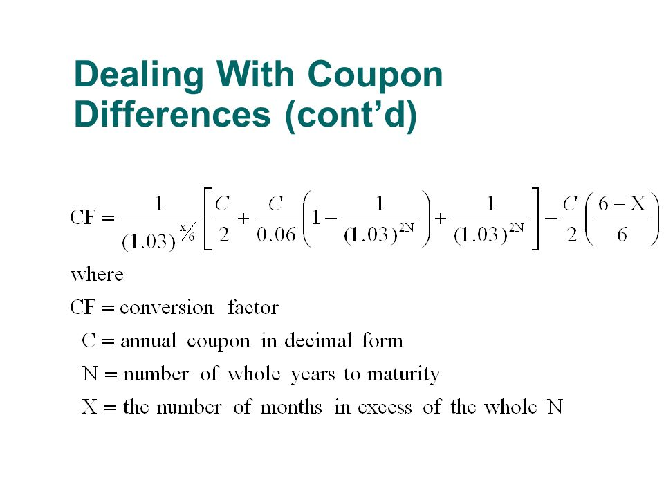 Dealing With Coupon Differences (cont'd)