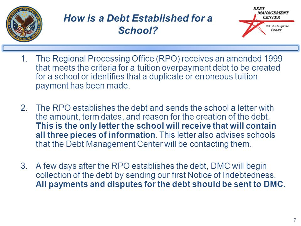 7 How is a Debt Established for a School.