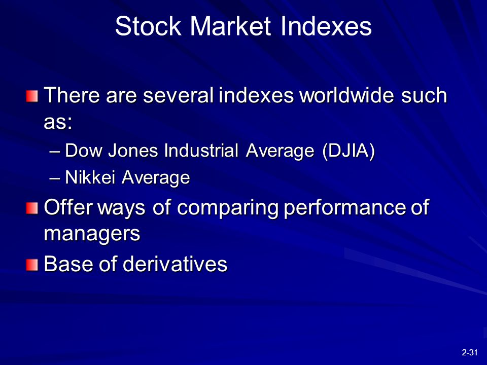 2-31 There are several indexes worldwide such as: –Dow Jones Industrial Average (DJIA) –Nikkei Average Offer ways of comparing performance of managers Base of derivatives Stock Market Indexes