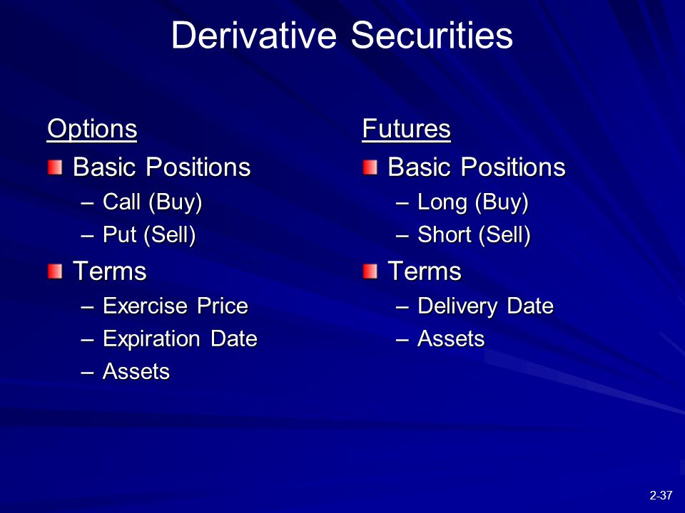 2-37 Derivative Securities Options Basic Positions –Call (Buy) –Put (Sell) Terms –Exercise Price –Expiration Date –Assets Futures Basic Positions –Lon