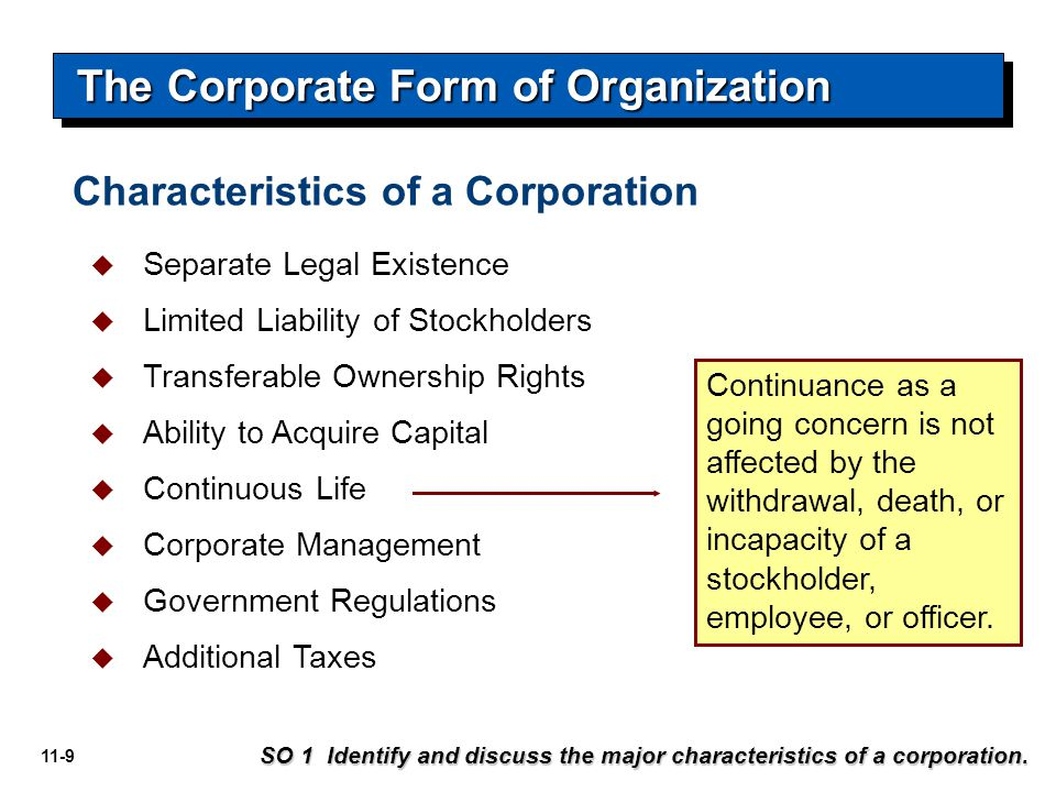 11-20 Stock Issue Considerations Name of corporation Stockholder's name Shares Signature of corporate official Prenumbered Illustration 11-4 SO 1 Identify and discuss the major characteristics of a corporation.