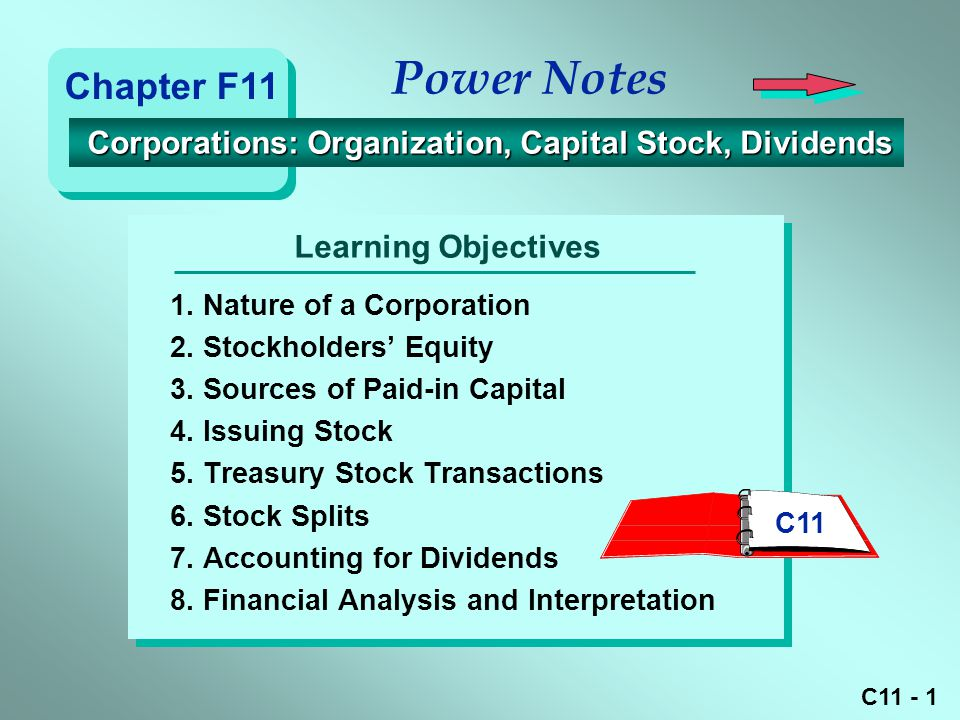 C11 - 2 Characteristics of Corporations Stockholders' Equity Issuing Stock Treasury Stock Transactions Stock Splits and Dividends Dividend Yield on Common Stock Slide #Power Note Topics 3 10 19 22 28 35 Note: To select a topic, type the slide # and press Enter.
