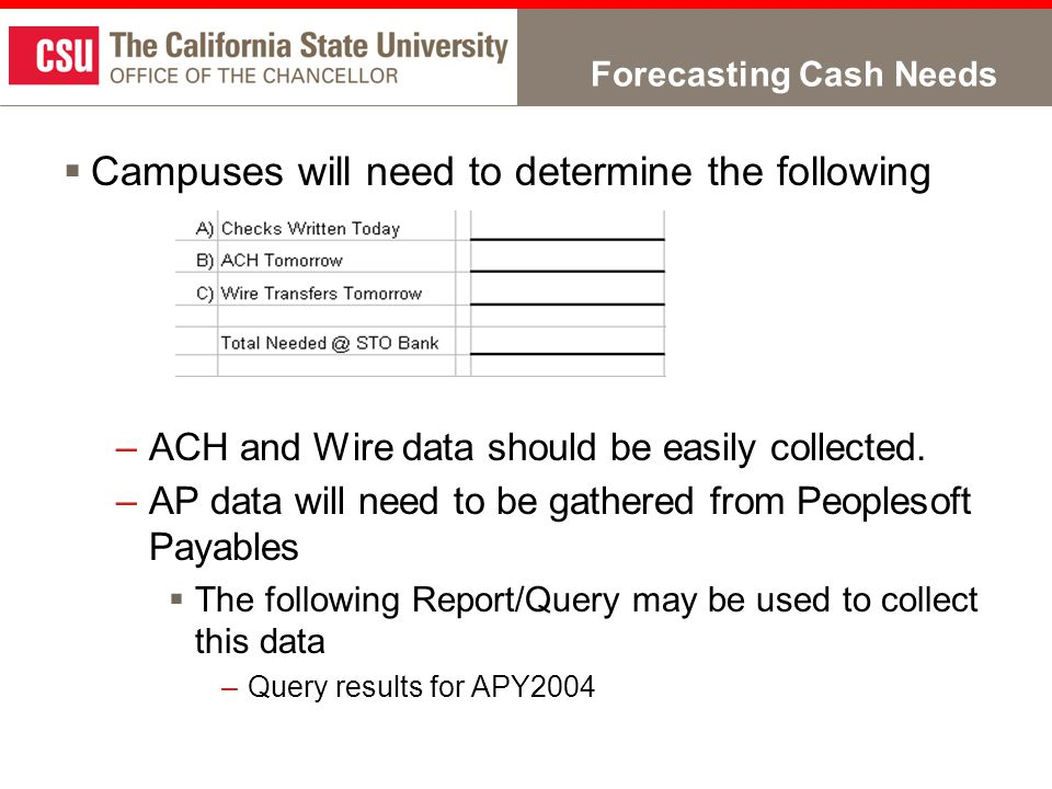 Forecasting Cash Needs  Campuses will need to determine the following –ACH and Wire data should be easily collected.