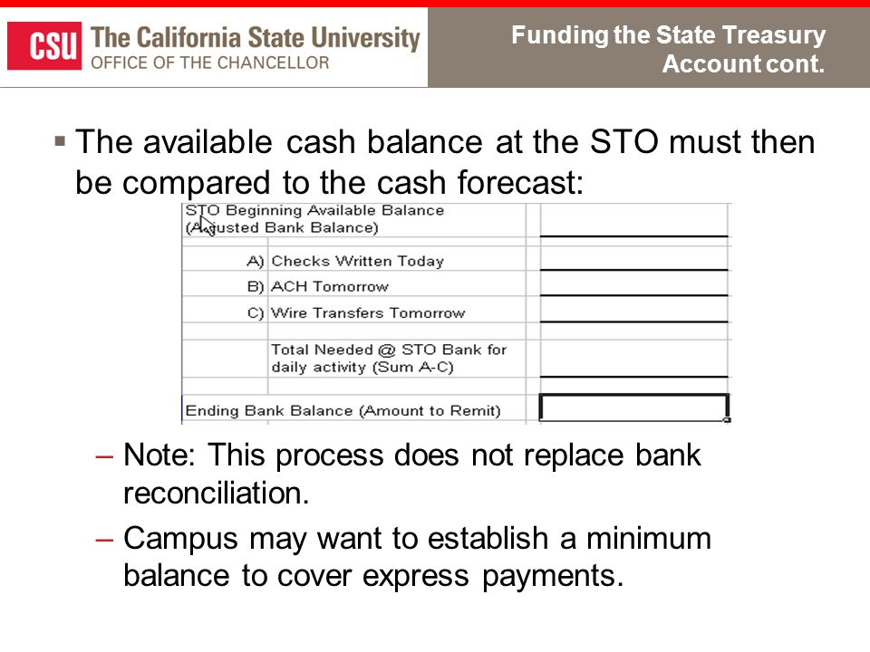 Funding the State Treasury Account cont.