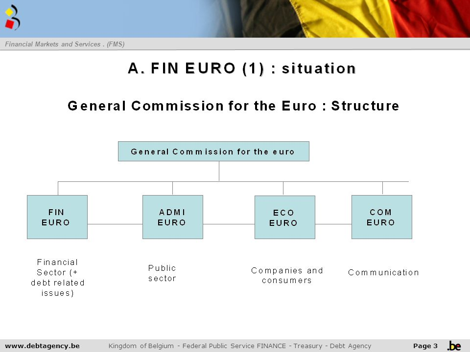 3 www.debtagency.be Kingdom of Belgium - Federal Public Service FINANCE - Treasury - Debt Agency Page 3 Financial Markets and Services. (FMS) 2007