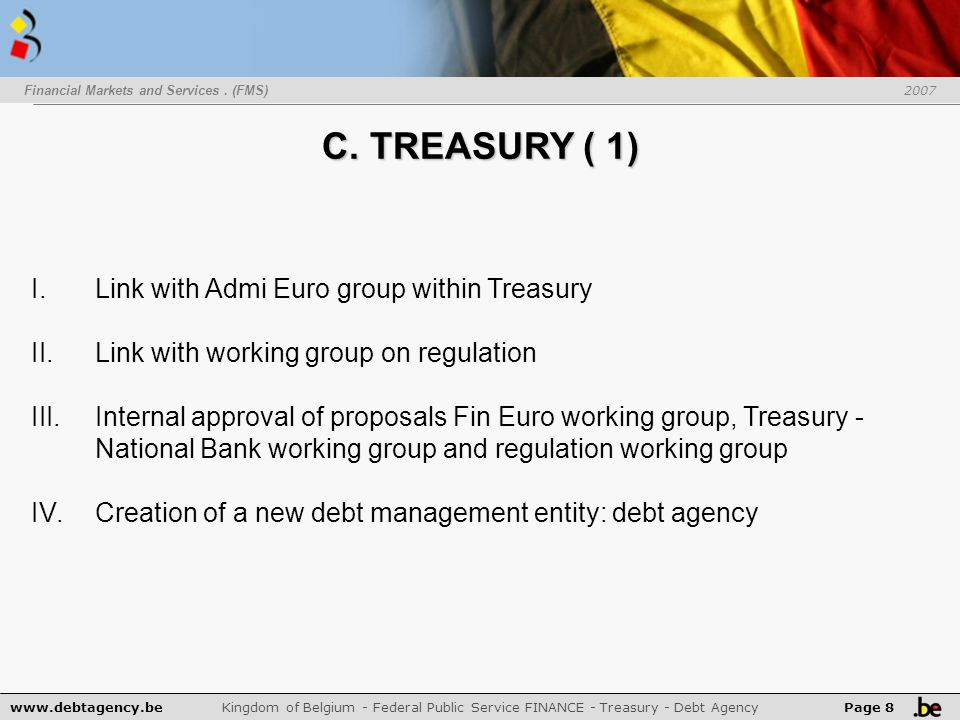 www.debtagency.be Kingdom of Belgium - Federal Public Service FINANCE - Treasury - Debt Agency Page 8 I.Link with Admi Euro group within Treasury II.Link with working group on regulation III.Internal approval of proposals Fin Euro working group, Treasury - National Bank working group and regulation working group IV.Creation of a new debt management entity: debt agency Financial Markets and Services.