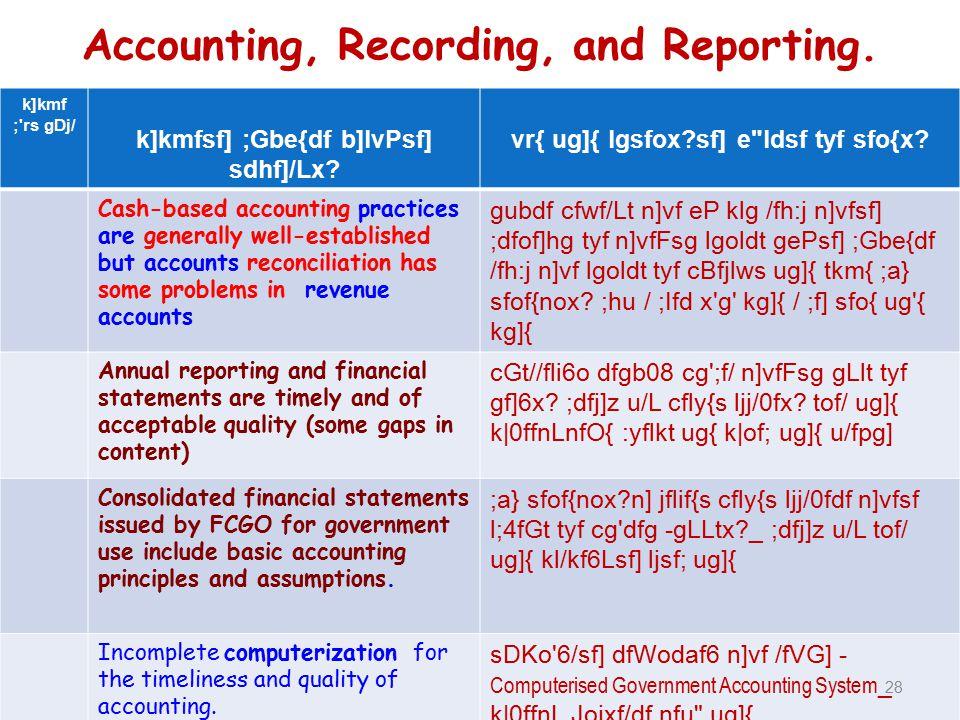 Accounting, Recording, and Reporting. k]kmf ; rs gDj/ k]kmfsf] ;Gbe{df b]lvPsf] sdhf]/Lx.