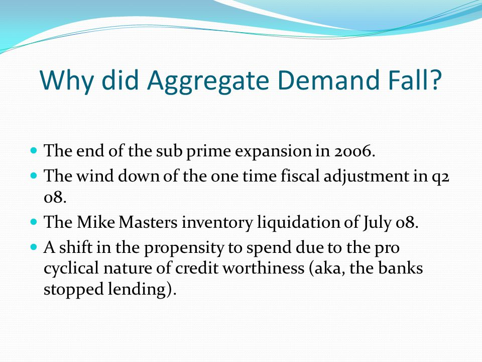 Aggregate Demand has been Weakening Since the 03 Fiscal Package