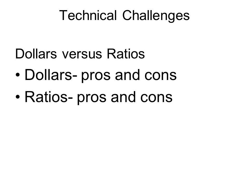 Technical Challenges Dollars versus Ratios Dollars- pros and cons Ratios- pros and cons