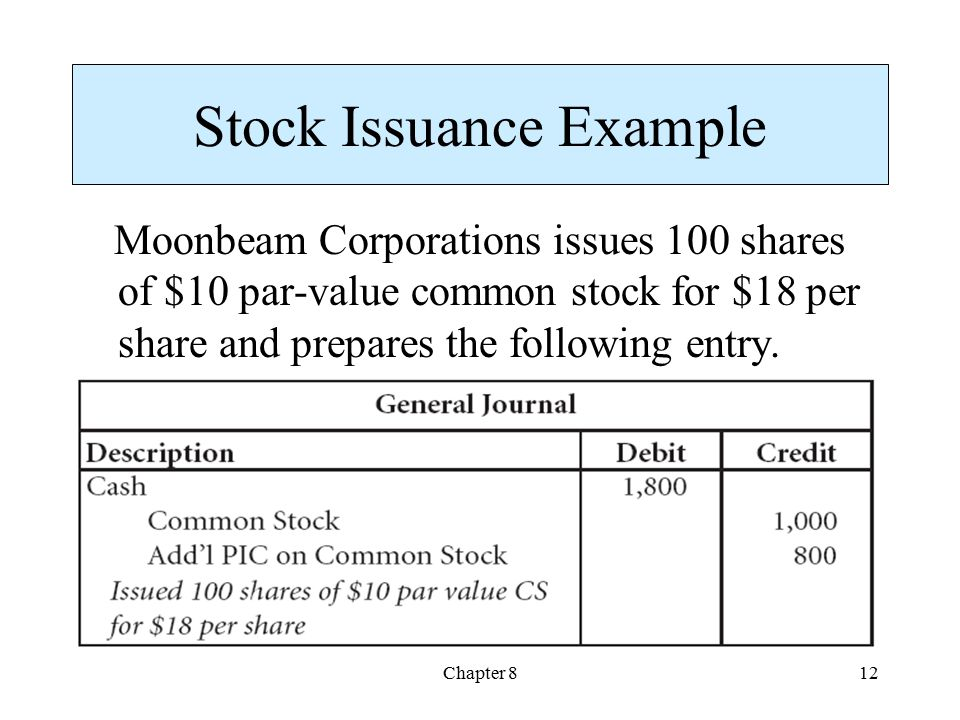 Chapter 812 Stock Issuance Example Moonbeam Corporations issues 100 shares of $10 par-value common stock for $18 per share and prepares the following entry.