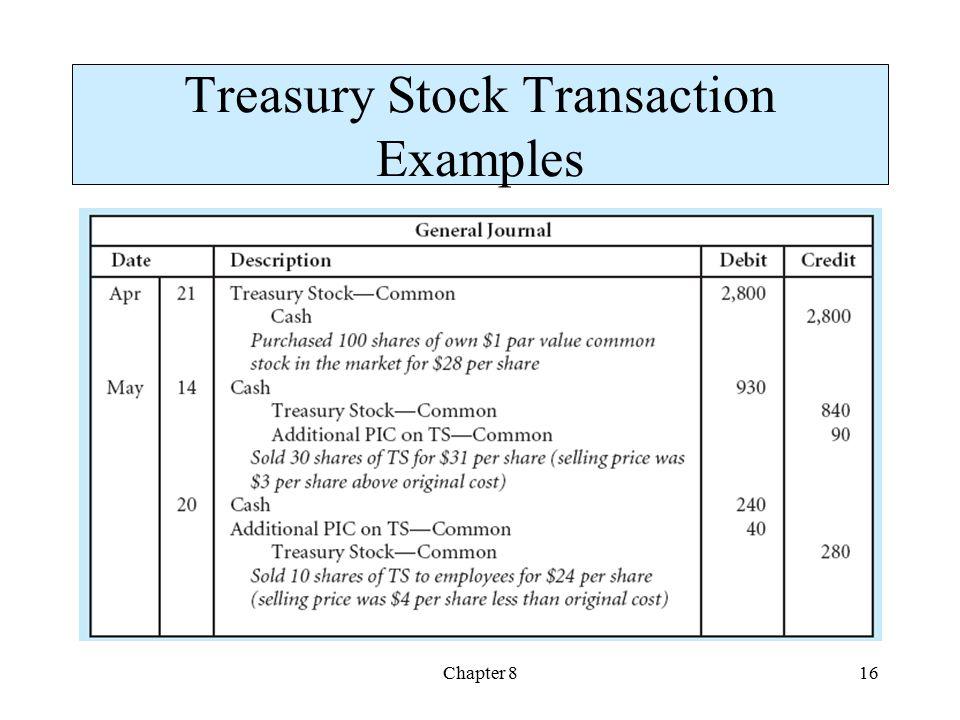 Chapter 816 Treasury Stock Transaction Examples