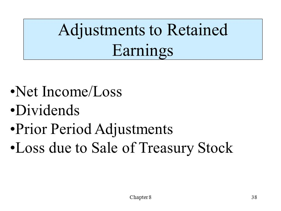 Chapter 838 Adjustments to Retained Earnings Net Income/Loss Dividends Prior Period Adjustments Loss due to Sale of Treasury Stock