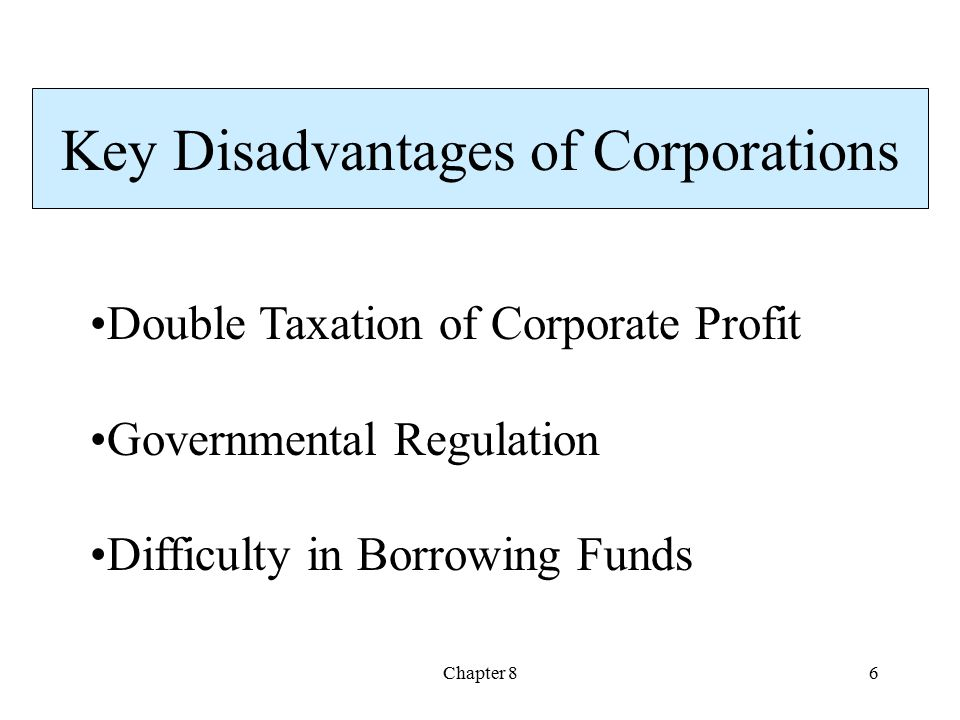 Chapter 86 Double Taxation of Corporate Profit Governmental Regulation Difficulty in Borrowing Funds Key Disadvantages of Corporations