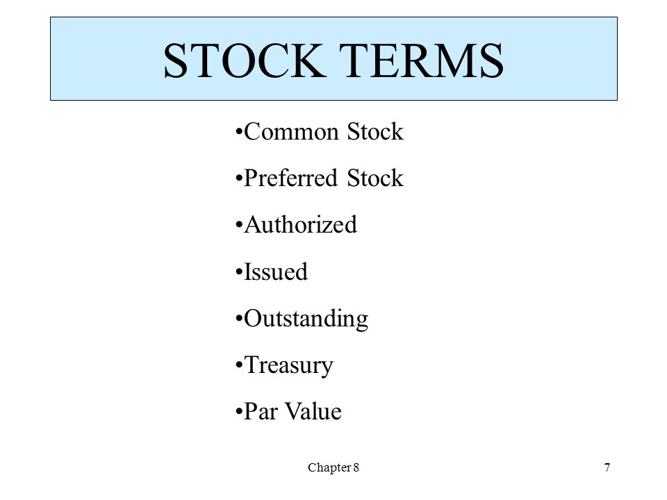 Chapter 87 STOCK TERMS Common Stock Preferred Stock Authorized Issued Outstanding Treasury Par Value
