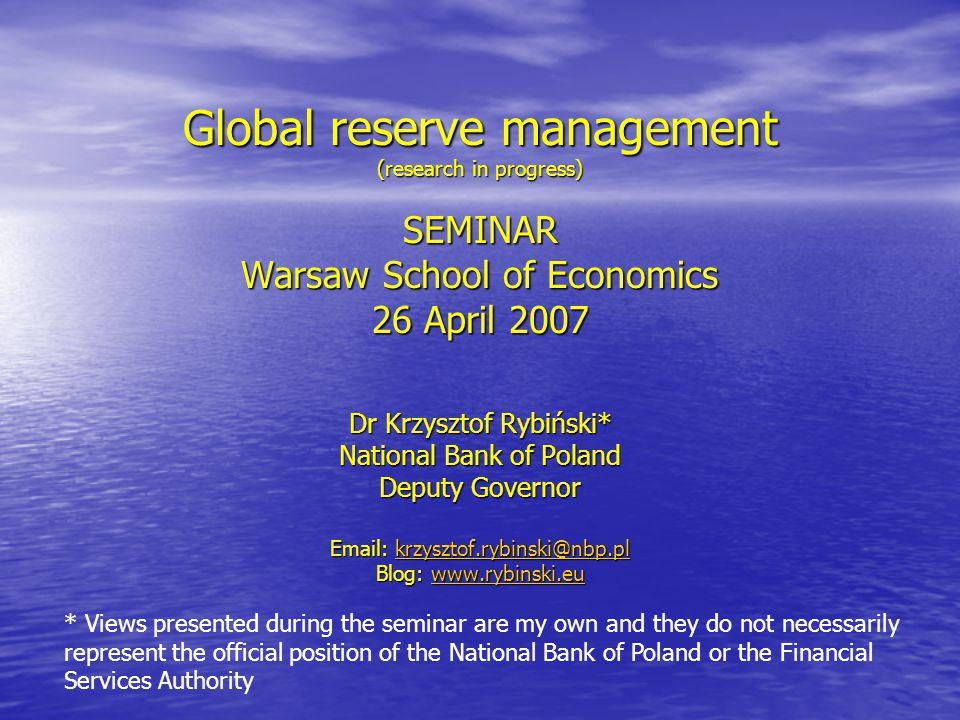 Rybinski.eu Growing Excess Reserves Source: IMF