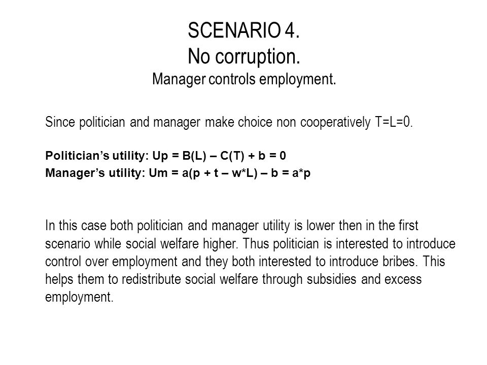 SUMMARY Excessive employment and salaries Subsidies BribesDetriment to social welfare Politician's Utility Manager's Utility Corruption allowed 1.