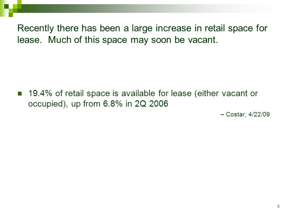 9 Recently there has been a large increase in retail space for lease.