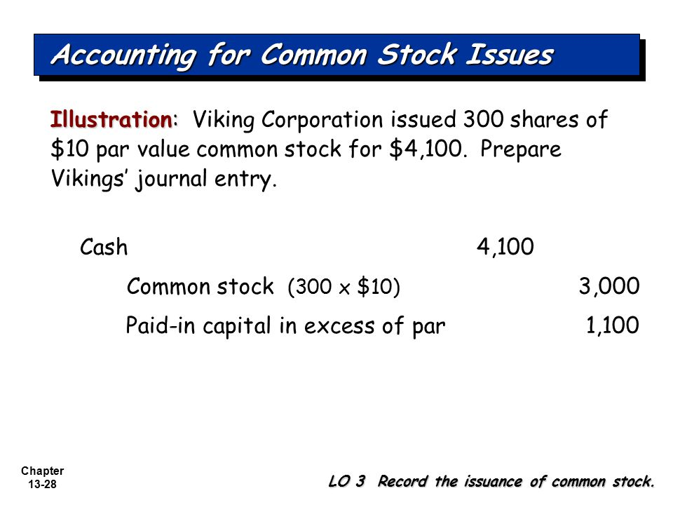 Chapter 13-28 Illustration: Illustration: Viking Corporation issued 300 shares of $10 par value common stock for $4,100. Prepare Vikings' journal entr