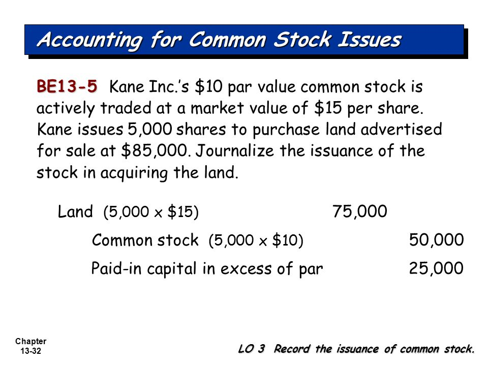 Chapter 13-32 BE13-5 BE13-5 Kane Inc.'s $10 par value common stock is actively traded at a market value of $15 per share. Kane issues 5,000 shares to