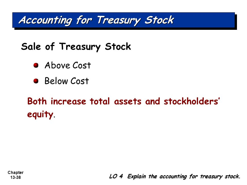 Chapter 13-38 Sale of Treasury Stock Above Cost Below Cost Both increase total assets and stockholders' equity. Accounting for Treasury Stock LO 4 Exp