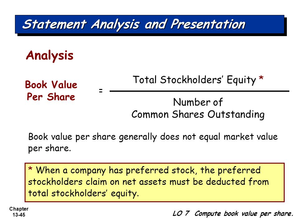 Chapter 13-45 * When a company has preferred stock, the preferred stockholders claim on net assets must be deducted from total stockholders' equity. A