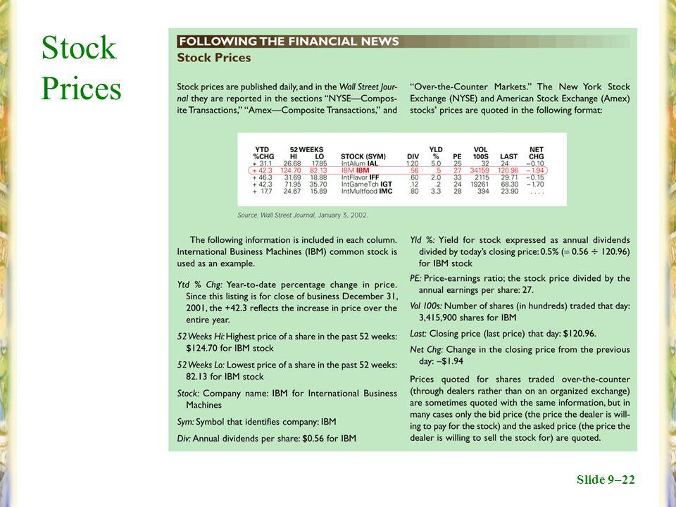 Slide 9–22 Stock Prices