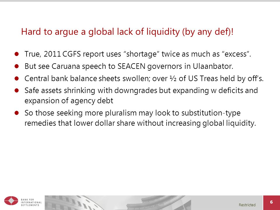Restricted Hard to argue a global lack of liquidity (by any def).