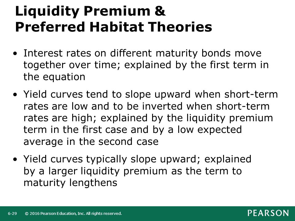 © 2016 Pearson Education, Inc. All rights reserved.6-29 Interest rates on different maturity bonds move together over time; explained by the first ter
