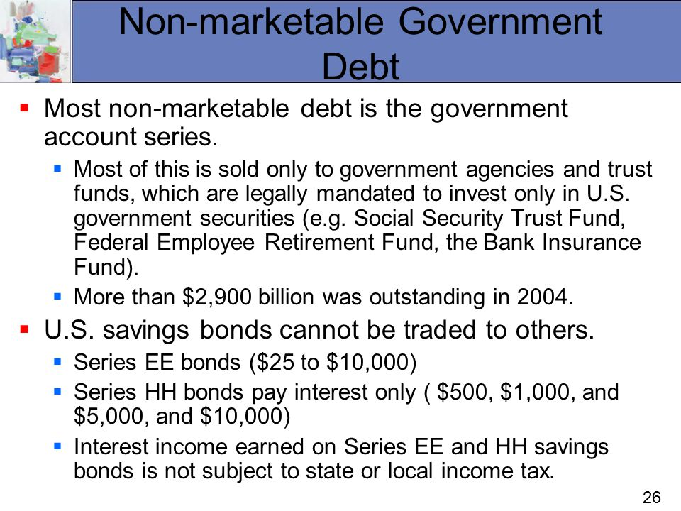 26 Non-marketable Government Debt  Most non-marketable debt is the government account series.  Most of this is sold only to government agencies and