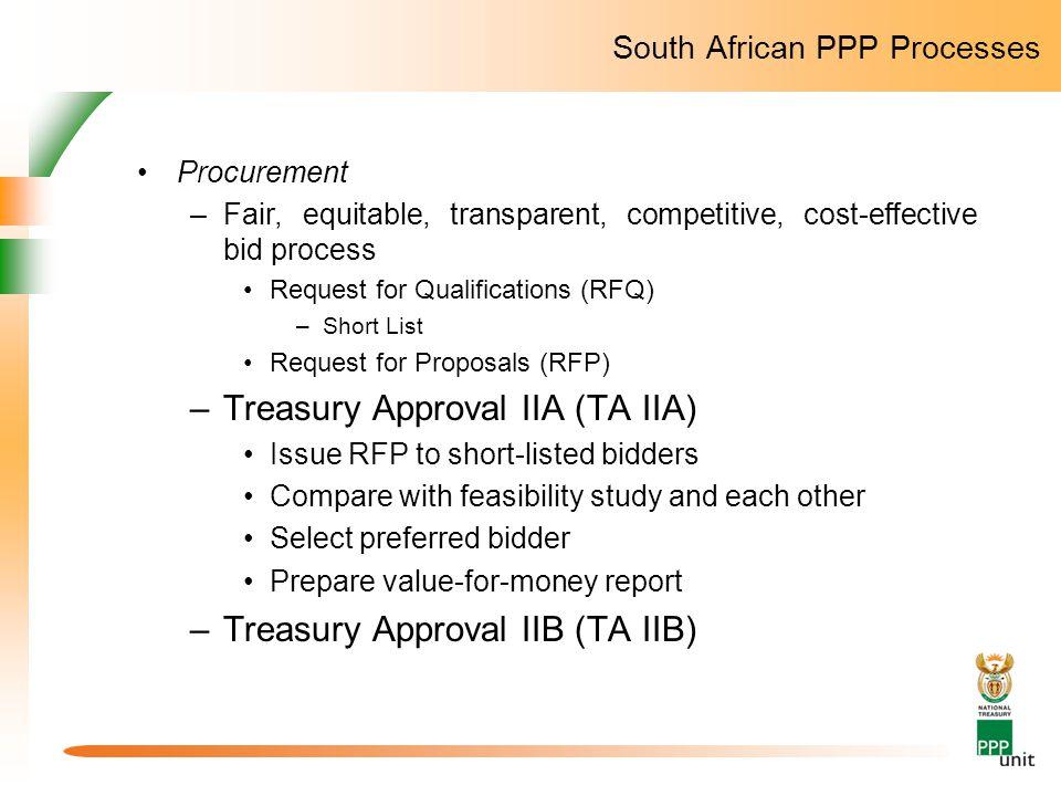 South African PPP Processes Procurement –Fair, equitable, transparent, competitive, cost-effective bid process Request for Qualifications (RFQ) –Short