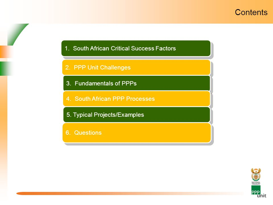 Contents 2. PPP Unit Challenges 3. Fundamentals of PPPs 4. South African PPP Processes 5. Typical Projects/Examples 3. The South African PPP Unit 1. S