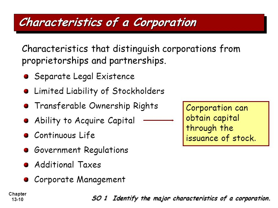 Chapter 13-10 Separate Legal Existence Limited Liability of Stockholders Transferable Ownership Rights Ability to Acquire Capital Continuous Life Government Regulations Additional Taxes Corporate Management Characteristics that distinguish corporations from proprietorships and partnerships.