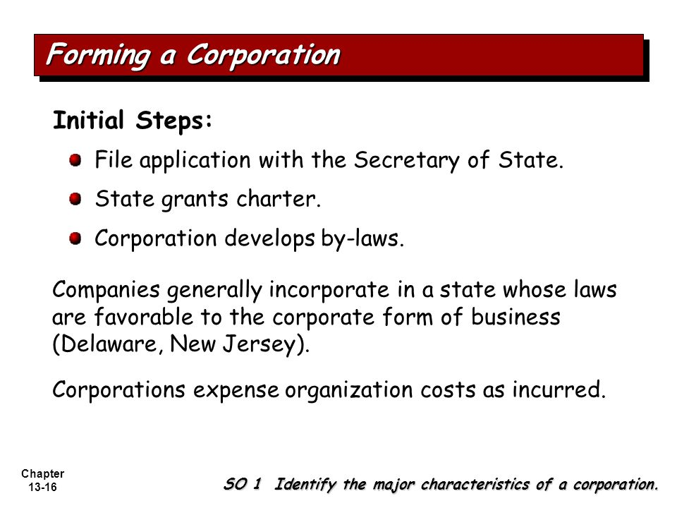 Chapter 13-16 File application with the Secretary of State.