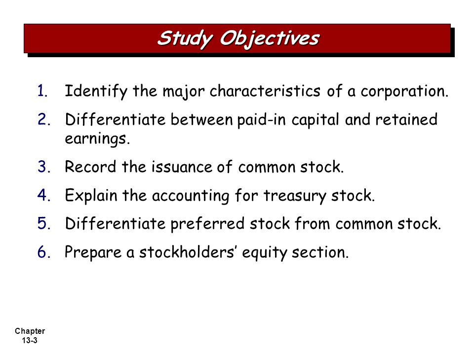 Chapter 13-3 1.1.Identify the major characteristics of a corporation.