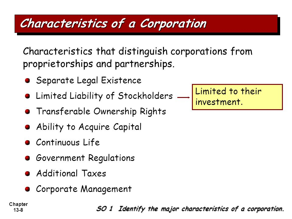 Chapter 13-8 Separate Legal Existence Limited Liability of Stockholders Transferable Ownership Rights Ability to Acquire Capital Continuous Life Government Regulations Additional Taxes Corporate Management Characteristics that distinguish corporations from proprietorships and partnerships.