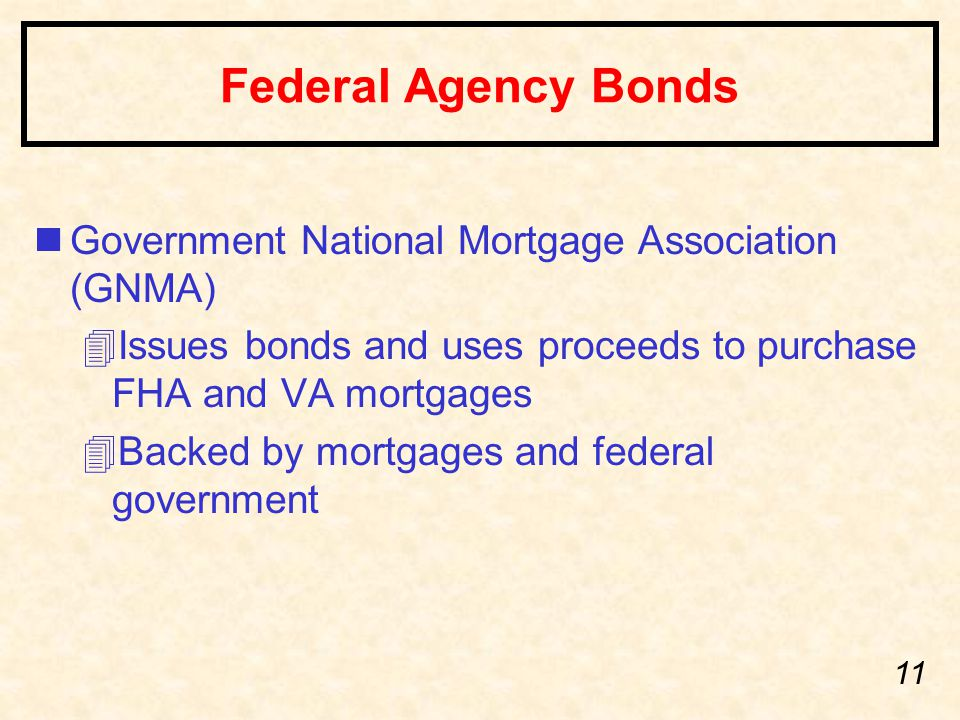 11 Federal Agency Bonds nGovernment National Mortgage Association (GNMA) 4Issues bonds and uses proceeds to purchase FHA and VA mortgages 4Backed by mortgages and federal government