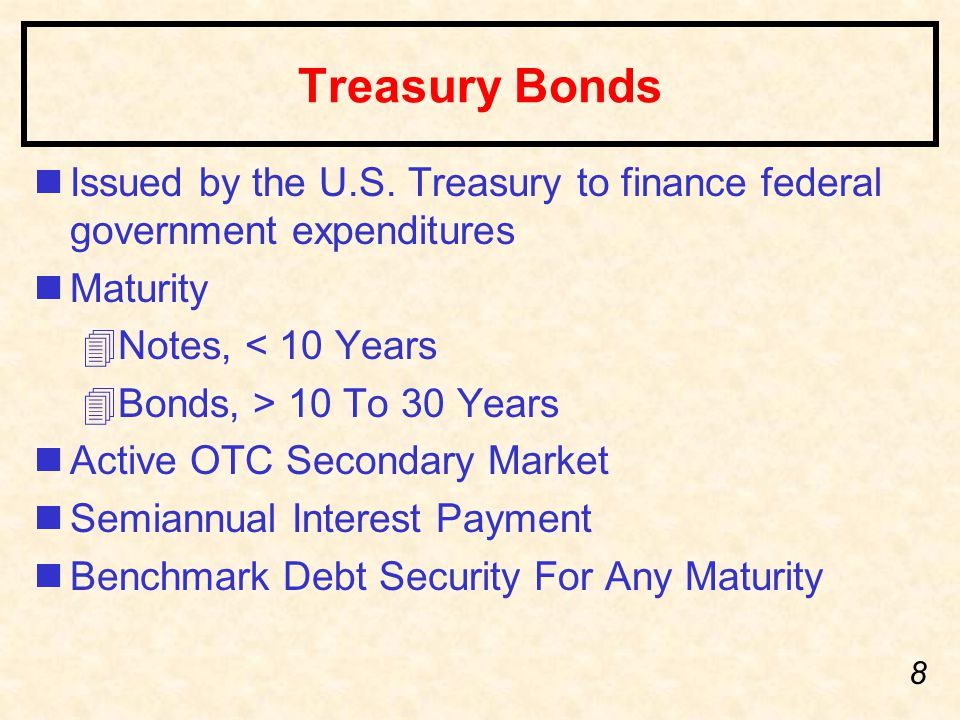 8 Treasury Bonds nIssued by the U.S.