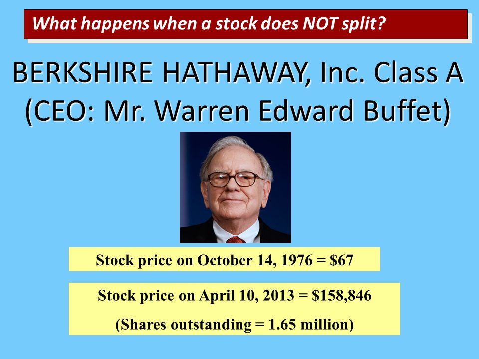 BERKSHIRE HATHAWAY, Inc. Class A (CEO: Mr.