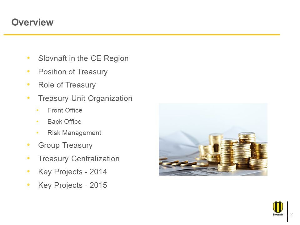 Overview Slovnaft in the CE Region Position of Treasury Role of Treasury Treasury Unit Organization Front Office Back Office Risk Management Group Treasury Treasury Centralization Key Projects - 2014 Key Projects - 2015 2