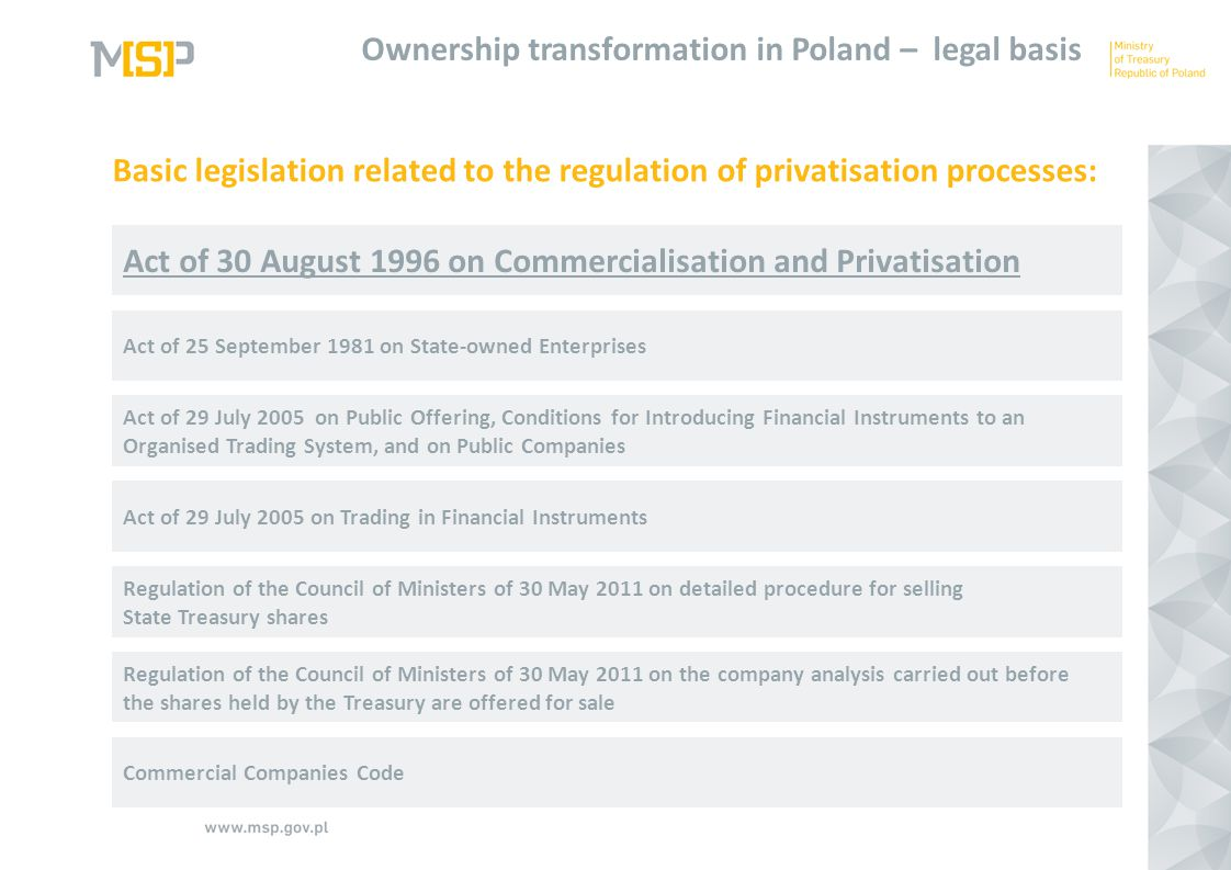 Act of 30 August 1996 on Commercialisation and Privatisation Ownership transformation in Poland – legal basis Act of 25 September 1981 on State-owned