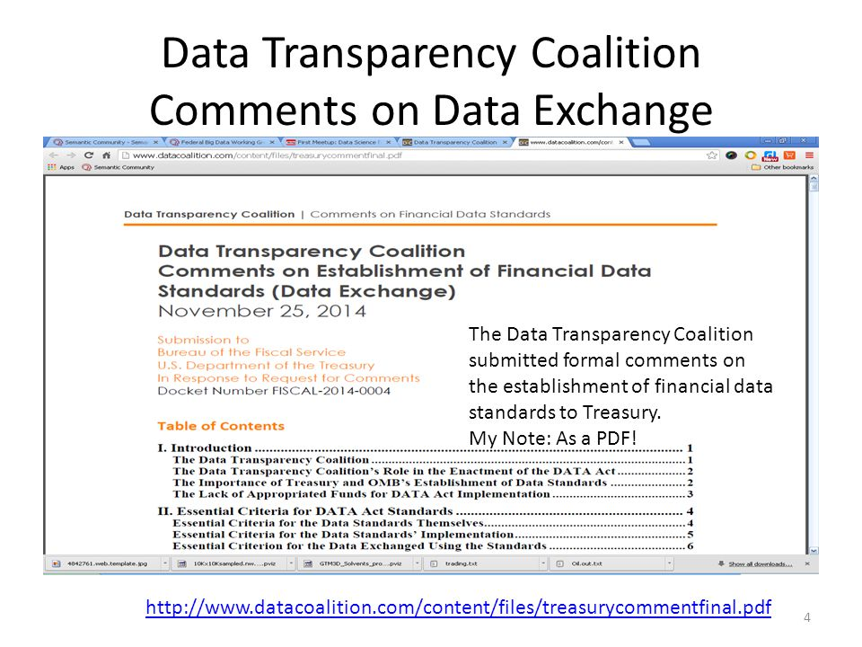 Data Transparency Coalition Comments on Data Exchange http://www.datacoalition.com/content/files/treasurycommentfinal.pdf The Data Transparency Coalition submitted formal comments on the establishment of financial data standards to Treasury.