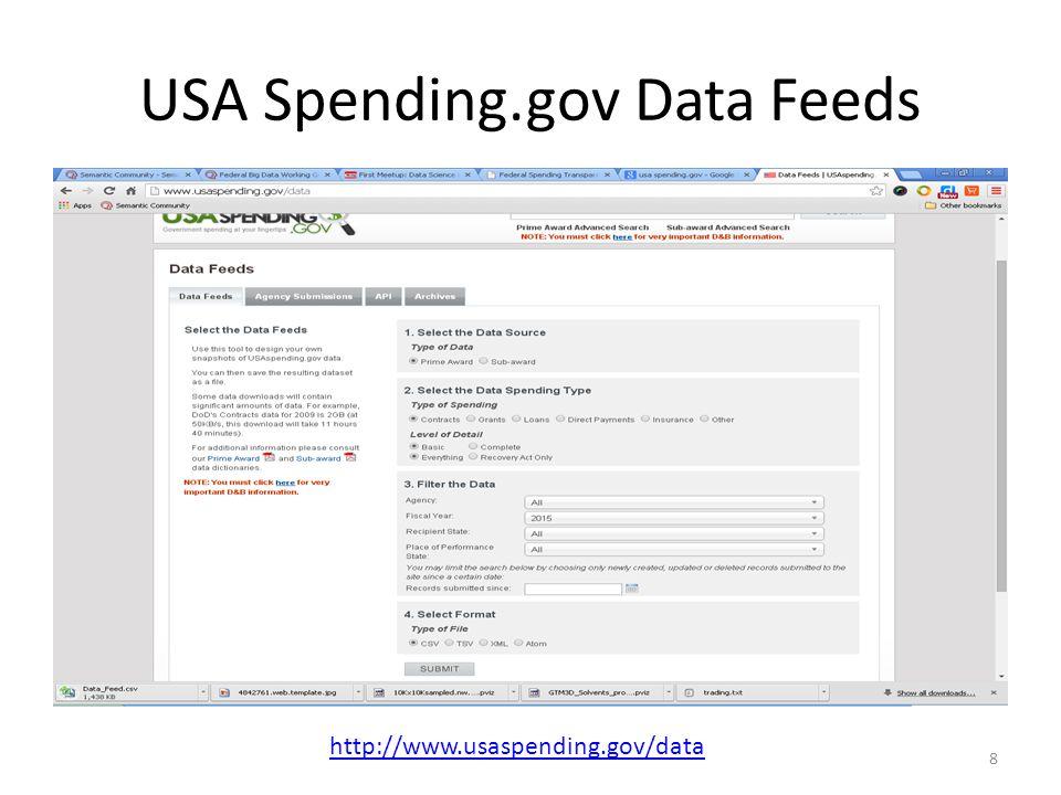 USA Spending.gov Data Feeds 8 http://www.usaspending.gov/data