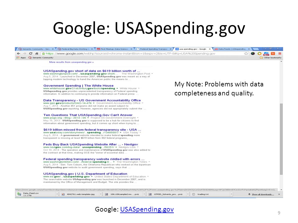 Google: USASpending.gov 9 USASpending.gov My Note: Problems with data completeness and quality.
