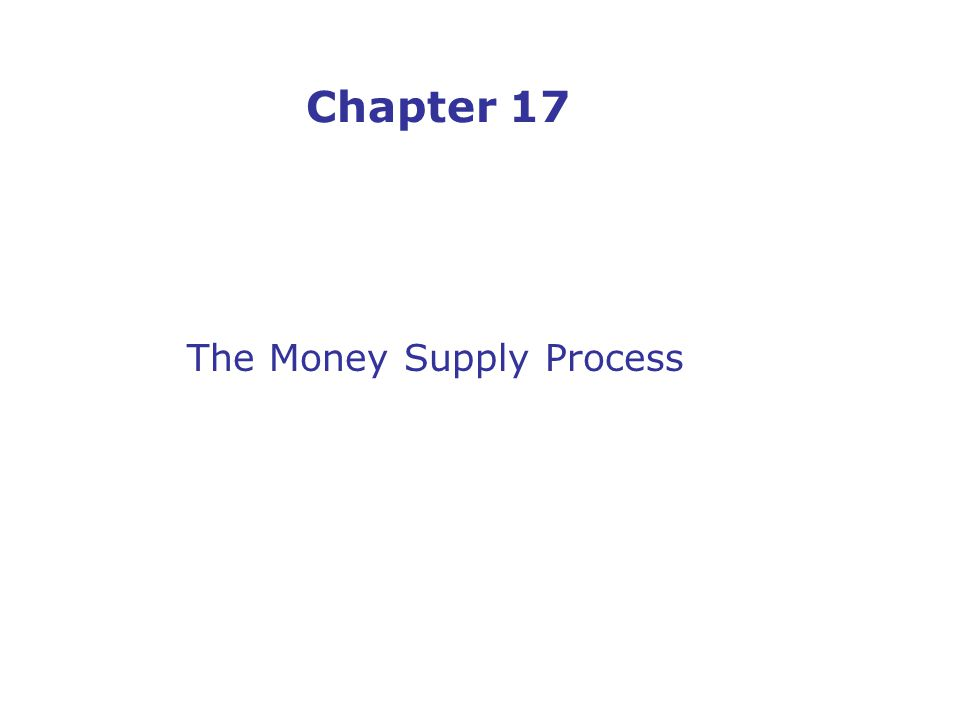 Chapter 17 The Money Supply Process