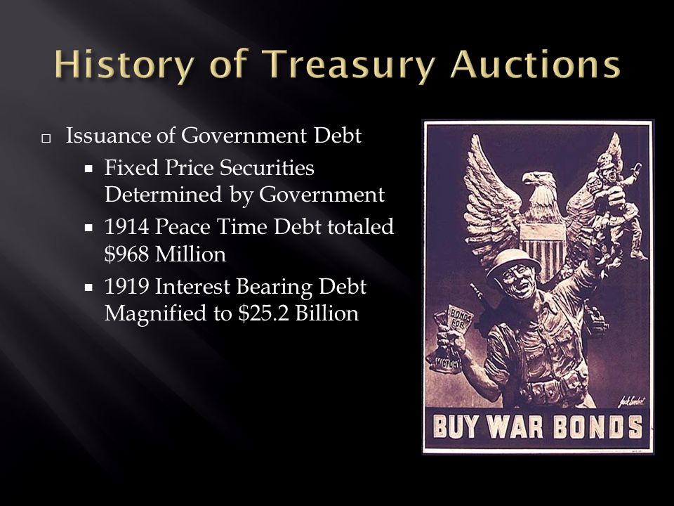 □ Issuance of Government Debt  Fixed Price Securities Determined by Government  1914 Peace Time Debt totaled $968 Million  1919 Interest Bearing Debt Magnified to $25.2 Billion
