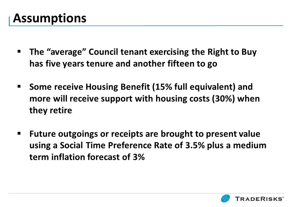 """Assumptions  The """"average"""" Council tenant exercising the Right to Buy has five years tenure and another fifteen to go  Some receive Housing Benefit"""