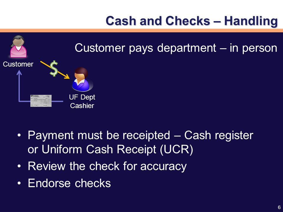 6 Cash and Checks – Handling Payment must be receipted – Cash register or Uniform Cash Receipt (UCR) Review the check for accuracy Endorse checks Customer UF Dept Cashier Customer pays department – in person